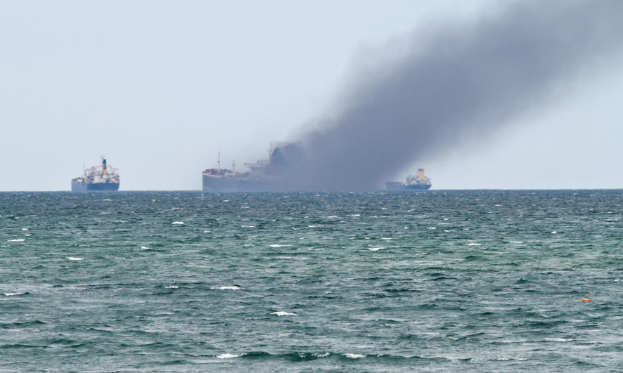 Burning containership
