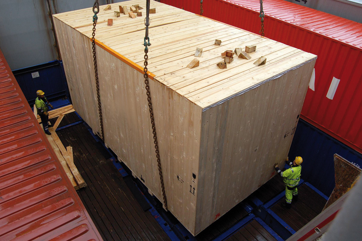 Wooden box loading