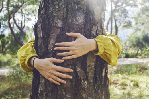 Woman hugs a tree