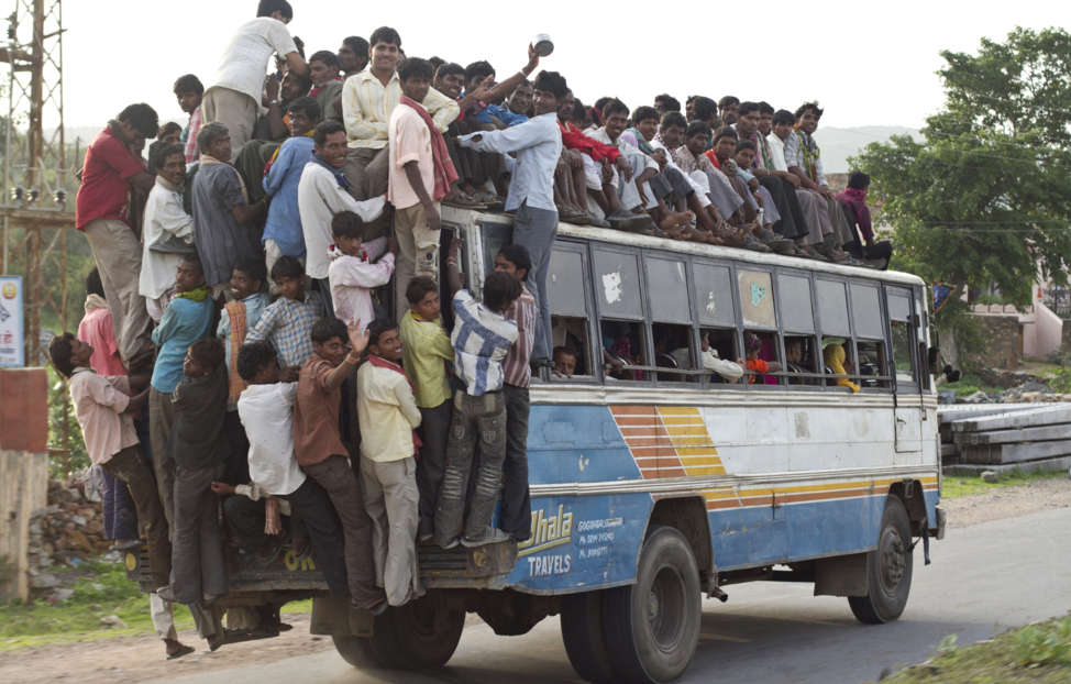 Crowded bus in India