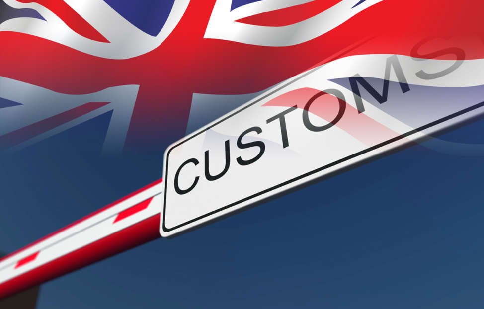 Customs border and UK flag