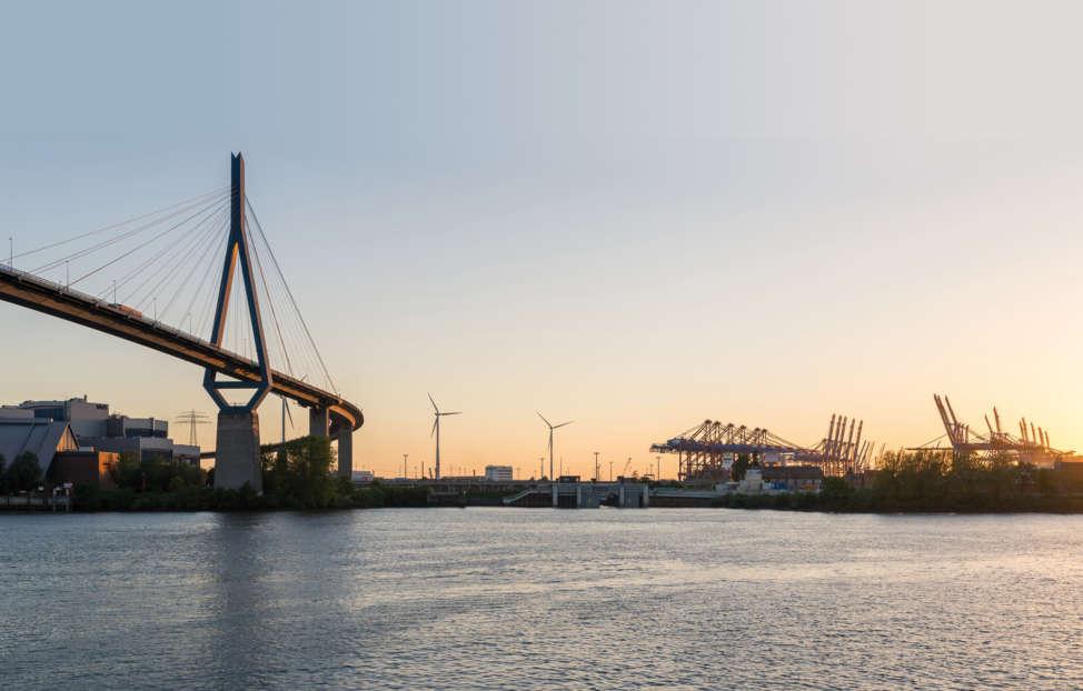 Port and bridge Koehlbrand in Hamburg