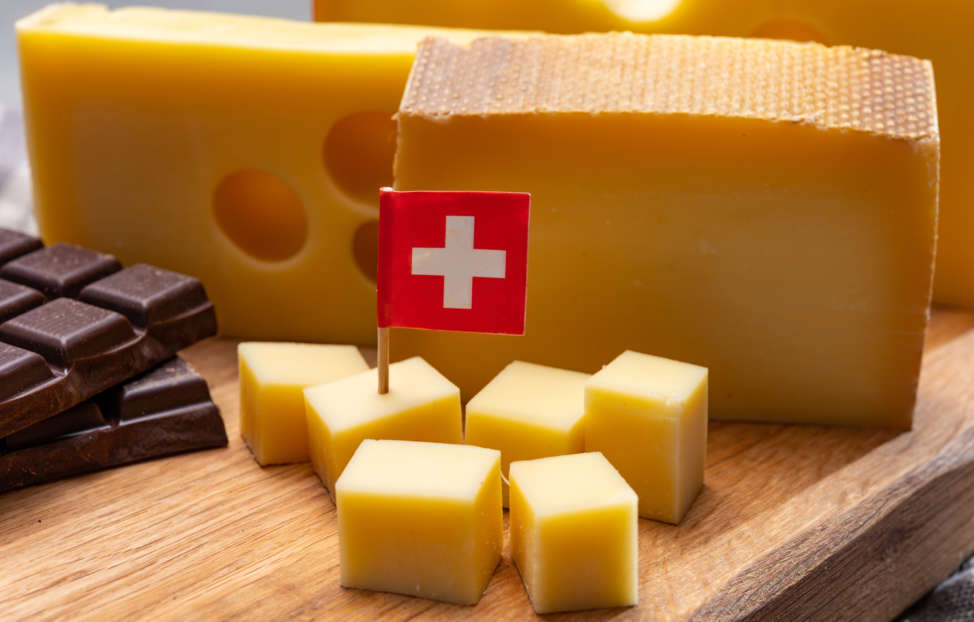 Swiss chocolate and cheese