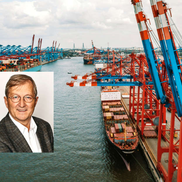 Cargo container terminal in Hamburg port