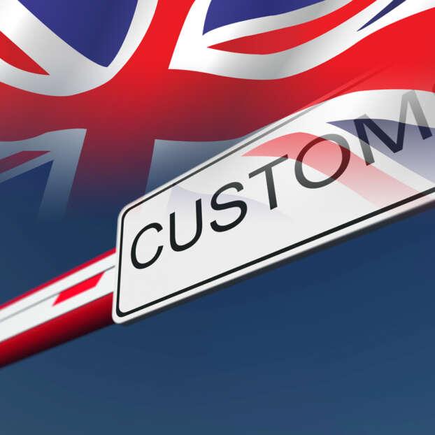 Customs border and UK flag