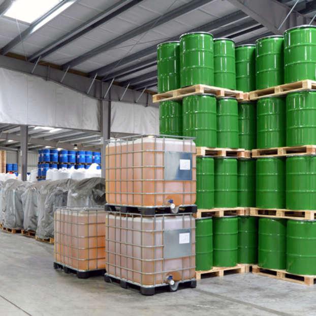 Warehouse with barrels and liquids